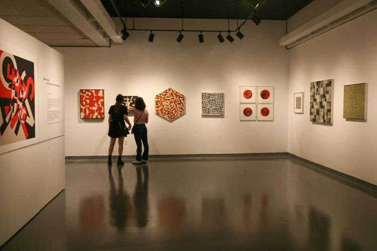 Students preview Ives's work in the CVPA Campus Gallery